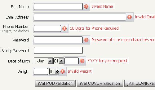 Field Validation jquery form plugin