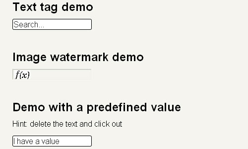 Watermarks for inputfields jquery form plugin