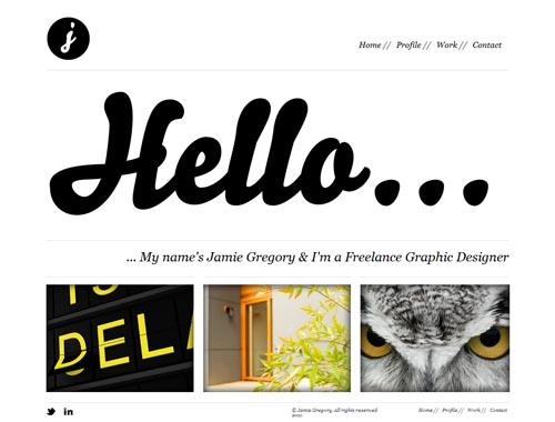 jamiegregory.co.uk - Minimalist site