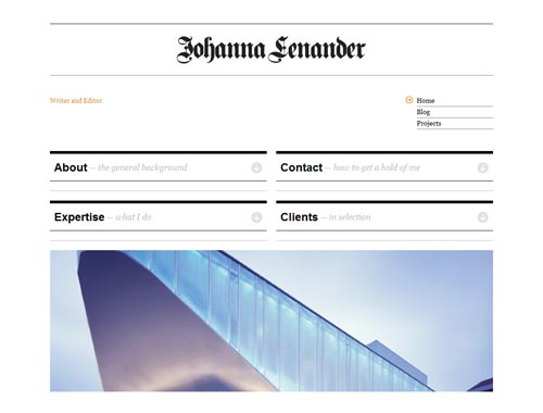 johannalenander.com - Minimalist site