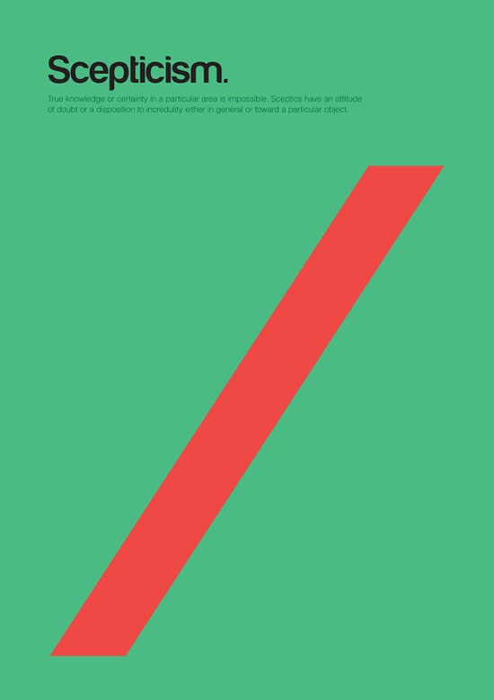 scepticism minimalist graphic design poster