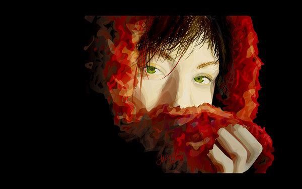 vexel illustration red girl