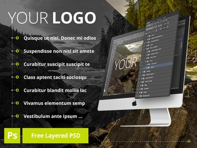 Free PSD iMac Layered MockUp Preview