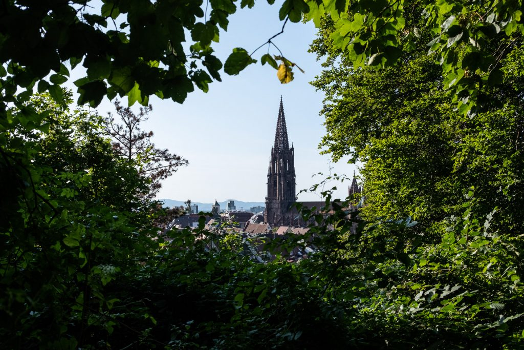 Freiburg im Breisgau , Tyskland Germany, Baden Württemberg, Kastaniegarten, Freiburg Minster