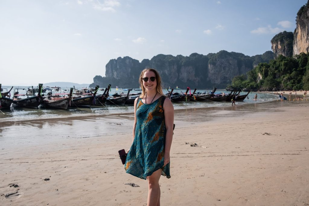 Railay Beach, Thailand, Asia, Krabi, båt, strand, sommer, smil