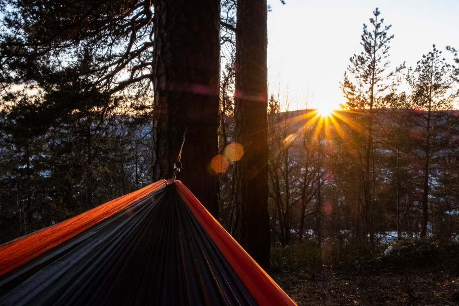 Oslo, Oslomarka, forest, trees, hike, hiking, trees, nature, local, travel, hammock, Ticket to the Moon, Sunset, flare, Grefsenkollen