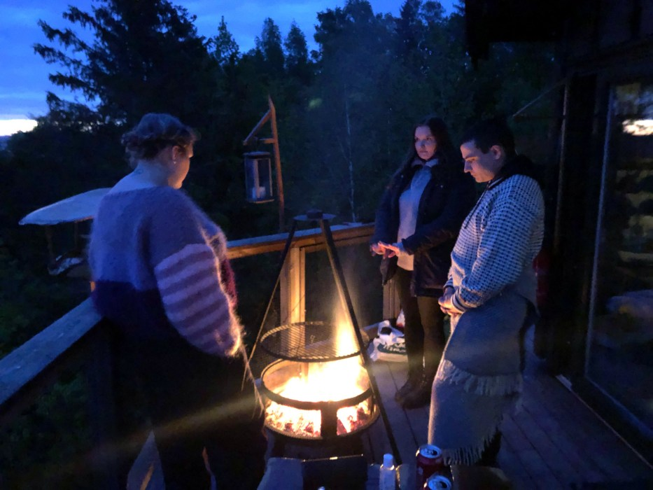 Tretopphytter Oslofjord, Norway, treetop cabin, nature, view, Falkeredet, night, bonfire