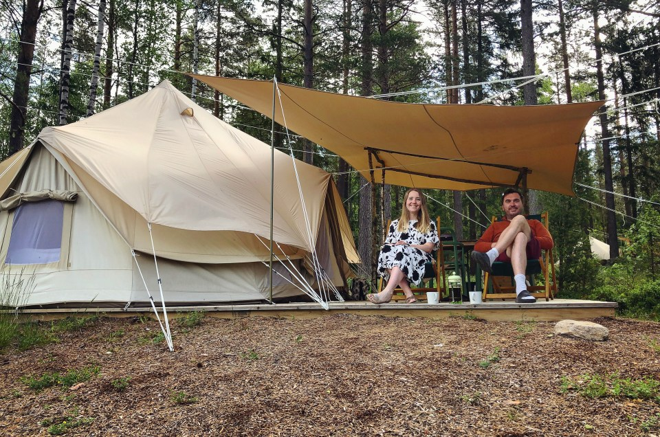 Glamping in the forest at Breiva Gjestegaard, in Bø, Telemark