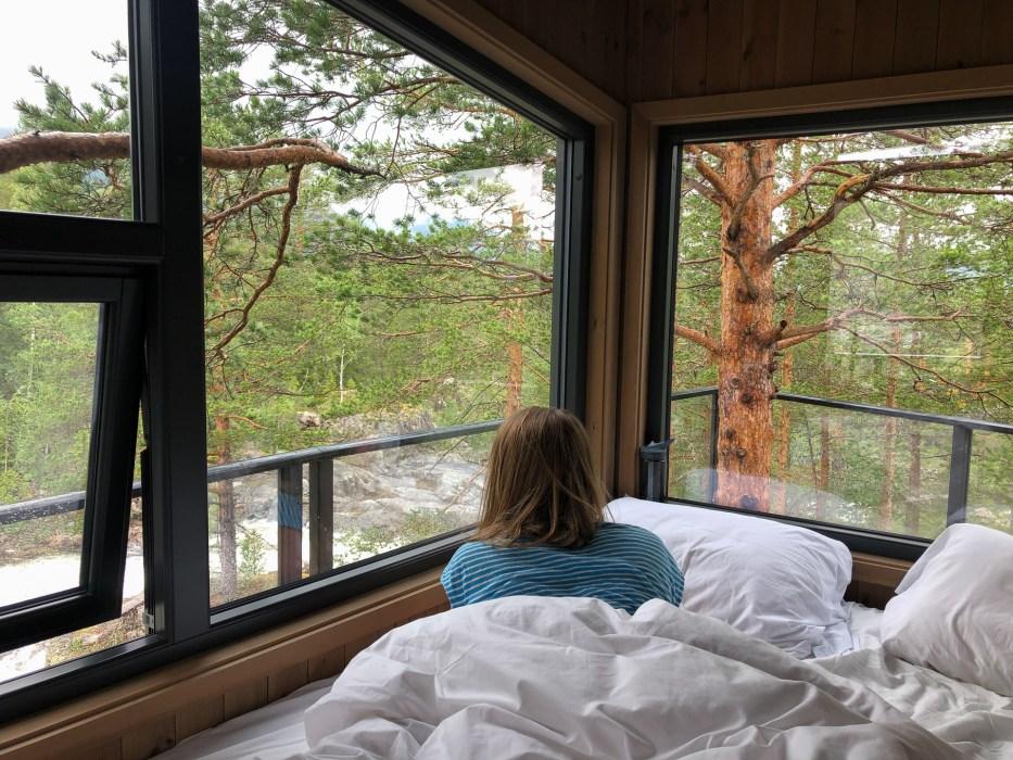 Fosstopp, tretopphytte, treetop cabin, nature, people,