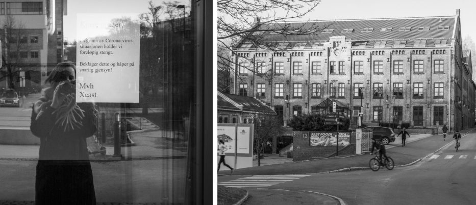 Covid-19 lockdown collage black and white Oslo Norway