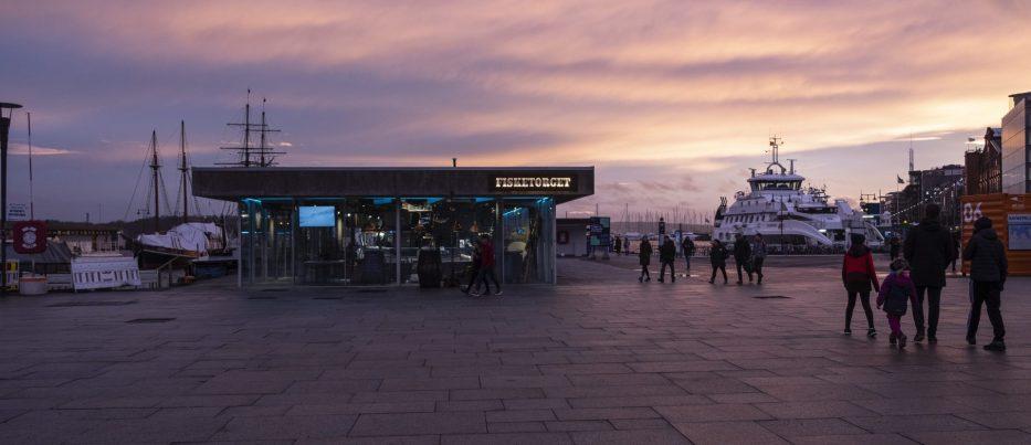Sunset over Aker Brygge in Oslo