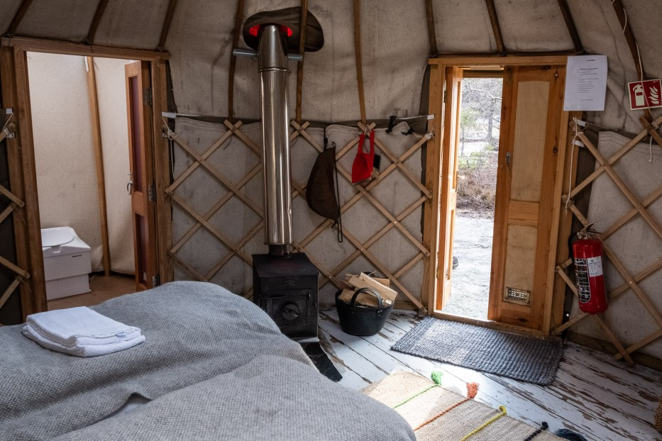 the inside of a yurt at Canvas Telemark