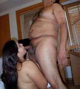 Amateur Housewife sucking big hard cock