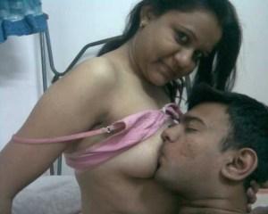 Desi Couple boobs sucking pic