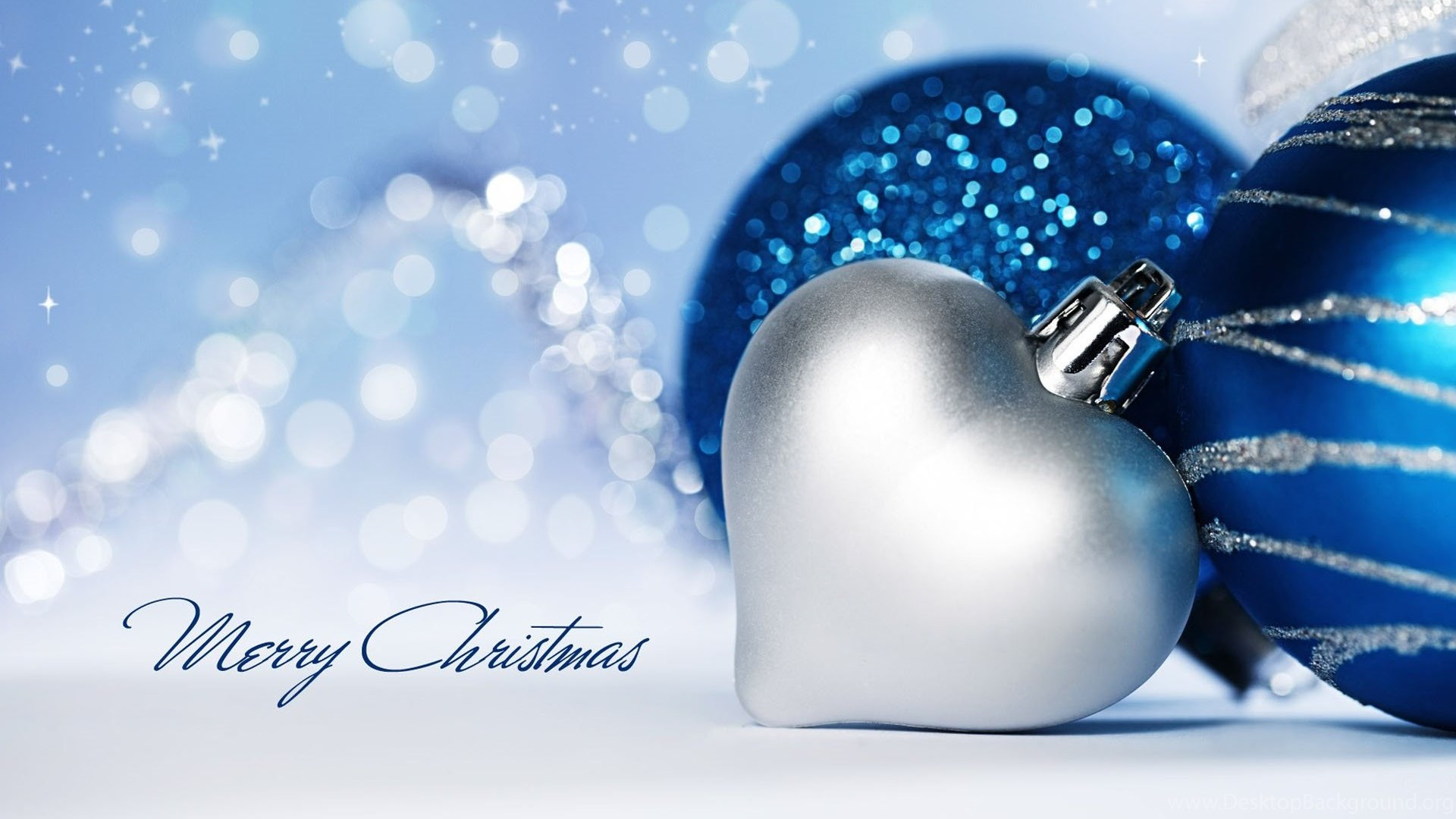 Christmas Heart Beautiful Hd Wallpaper With Blue Colorjpg