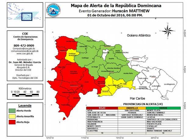 coe-declara-10-provincias-en-alerta-roja-y-4-en-amarilla-por-el-huracan-matthew