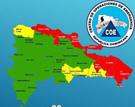 32 provincias en alerta por Huracán María
