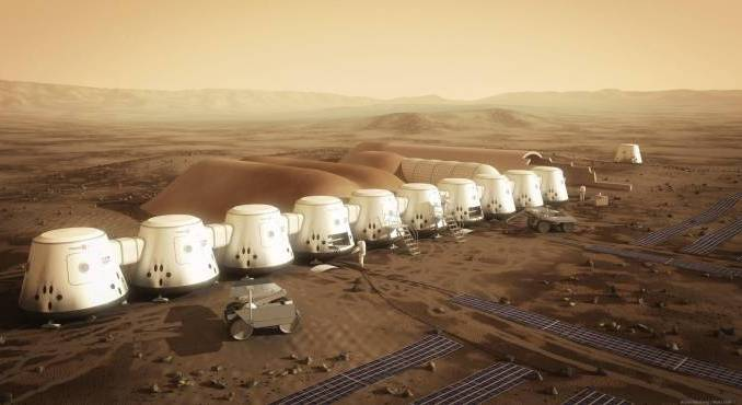 Imagen referencial que muestra una vista general de un proyecto de asentamiento en el planeta rojo