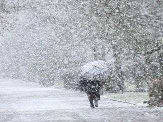 Una mujer usa un paraguas para protegerse de las fuertes nevadas del 17 de enero de 2018 en Langenhagen, cerca de Hannover, en el norte de Alemania, donde las temperaturas se encontraban cerca del punto de congelación (AFP)