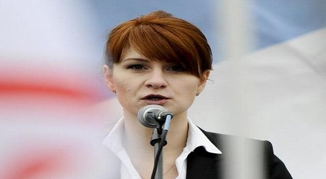 Maria Butina, activista a favor de las armas de fuego, actualmente acusada de espiar contra EEUU, en un discurso en Moscú el 21 de abril del 2013