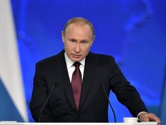 El presidente Valdimir Putin en su discurso anual ante el parlamento ruso