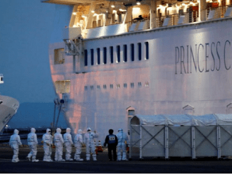Funcionarios con equipo de protección ingresan al crucero Diamond Princess para transferir a un paciente al hospital después de que el barco llegó a la Terminal de Cruceros en Yokohama, al sur de Tokio. 7 de febrero de 2020.