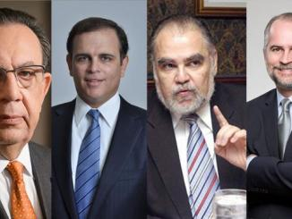 Héctor Valdez Albizu, Gobernador del Banco Central. 2-Jochi Vicente Ministro de Hacienda. 3- Miguel Ceara Hatton, Ministro de Economía. 4- Alejandro Fernández, Superintendente de Bancos.