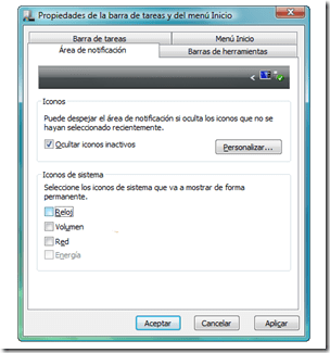 Area de Notificacion Windows 7