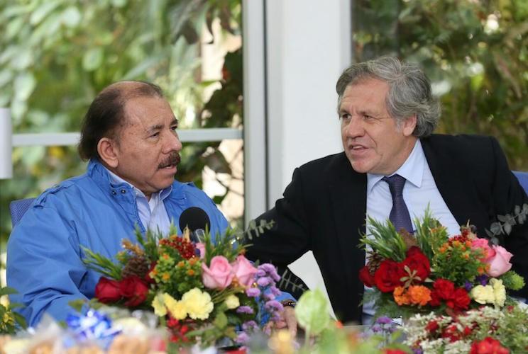 Daniel Ortega y Luis Almagro, en 2017.