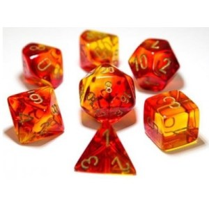 Dobbelstenen Gemini Polyhedral Red-Yellow/Gold