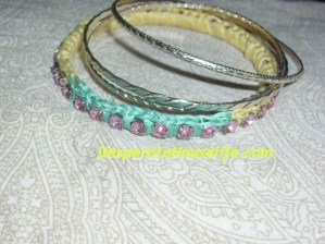 Crochet Colorblock Rhinestone Bangle Tutorial