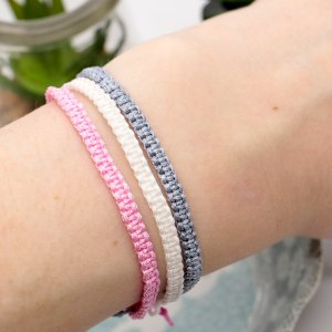 Pink marble friendship bracelet set