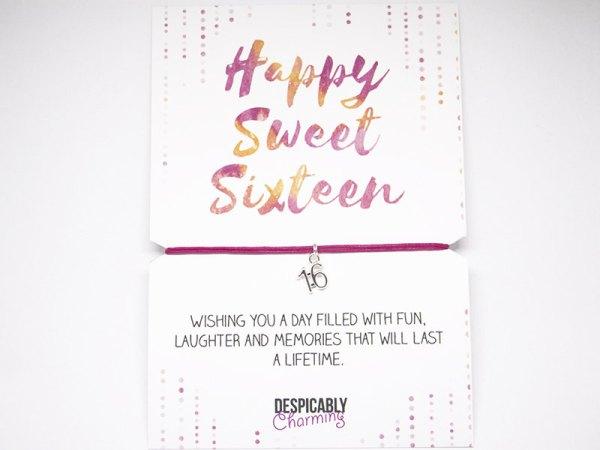 Sweet 16 Friendship Bracelet - Alternative birthday card -  BFF gift - party favours