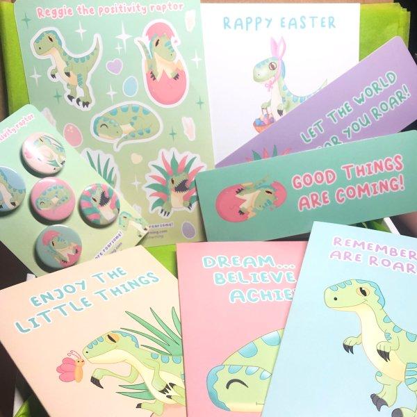 Set of 5 Pastel Positivity Dinosaur Bookmarks