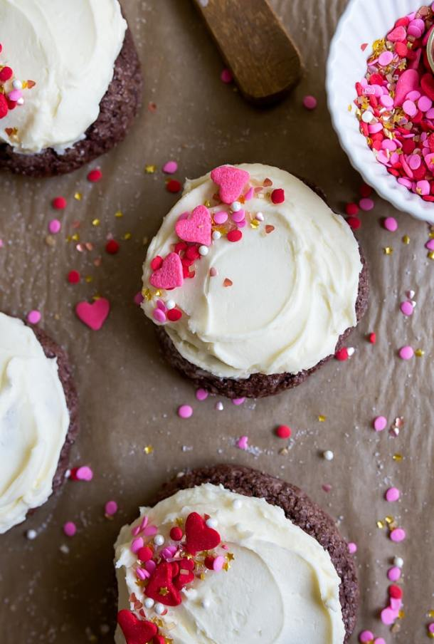 Chocolate Sugar Cookie Recipe. Small batch chocolate sugar cookies with frosting