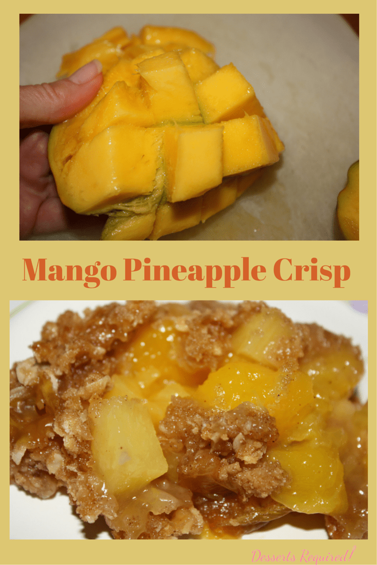 Mango Pineapple Crisp has a bit of nutmeg, ginger and cinnamon that adds the perfect amount of sugar and spice to make everything nice.  Easy recipe, too!