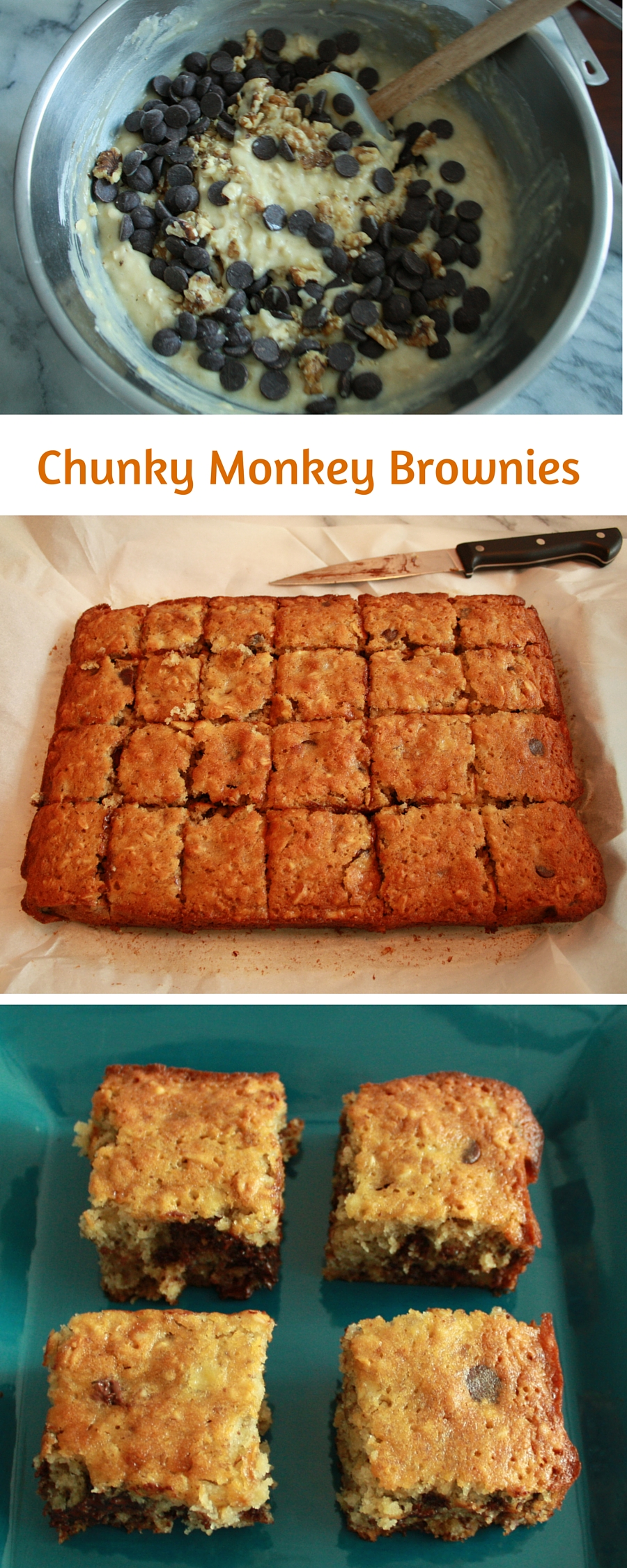 Chunky Monkey Bars are the perfect way to combine bananas, chocolate, walnuts and oats.