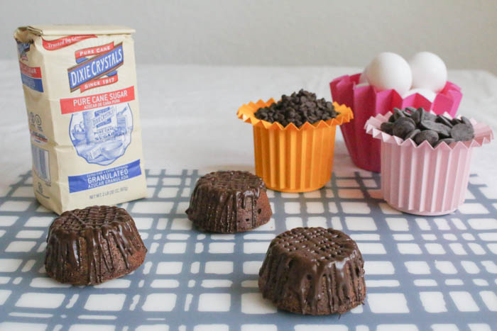 Fudgy Mexican Chocolate Cakelettes are filled with speculoos/cocoa spread.  Bake this easy recipe and you will hear 'Oh My God' over and over again.