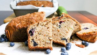 Surprise your guests with the addition of blueberries in this Blueberry Zucchini Bread. The recipe bakes two loaves so there is plenty to share.