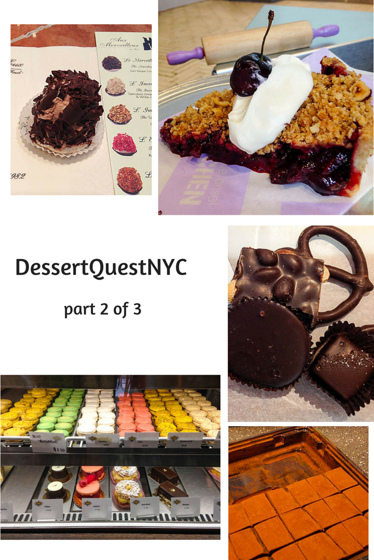 Desserts Required's DessertQuestNYC - covers Aux Merveilleux de Fred, Bosie Tea Parlor, Dominique Ansel KITCHEN, Li-lac Chocolates, Royce' and The Dessert Club by Chikalicious.