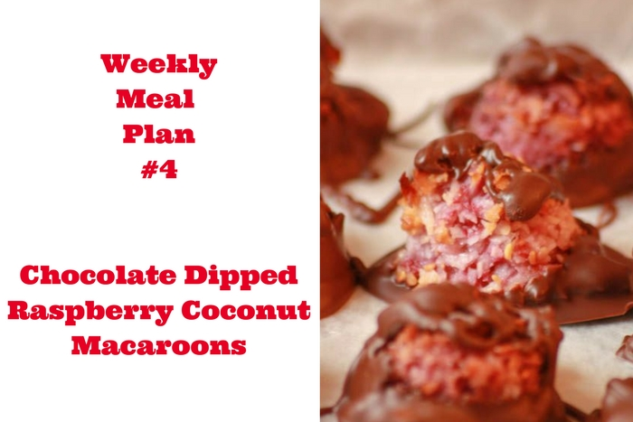 Chocolate Dipped Raspberry Coconut Macaroons are the perfect addition to Weekly Meal Plan #4. Great for Valentine's Day, too!