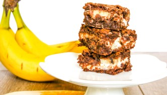 Banana Coconut Chocolate Chip Brownies are a great way to use overripe and perfectly ripe bananas in one delicious dessert.