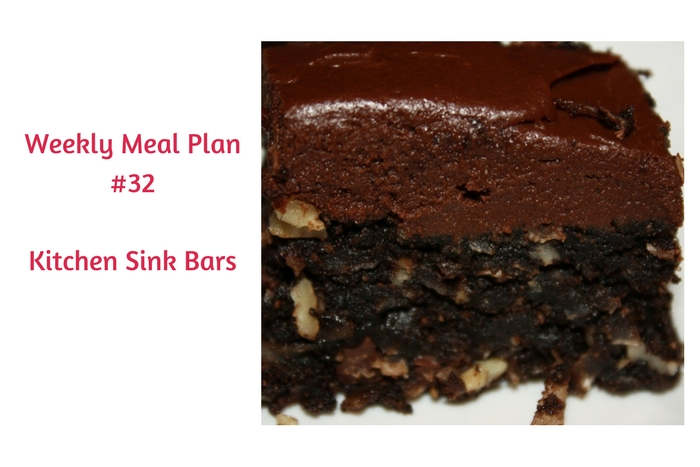 Weekly Meal Plan #32 is loaded with delicious breakfast, lunch and dinner choices. Don't forget about dessert - Kitchen Sink Brownies!