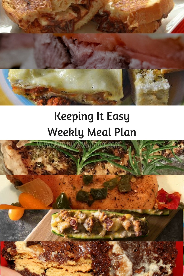 Easy Weekly Meal Plan #33 from My Fearless Kitchen. This week's meal plan includes Grilled Nutella Banana Marscapone Cheese, Rosemary Baked Halibut, Freeze & Bake Lasagna, Crockpot Chicken with Green Chilis, Salsa Steak Sandwich, Bacon Cheeseburger Zucchini Boats, and Gooey Marshmallow Monstrosity Cups.