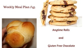 Weekly Meal Plan #45 is filled with terrific breakfast, lunch and dinner options. Leave room for Anytime Rolls and Gluten Free Chocolate Chip Cookies!