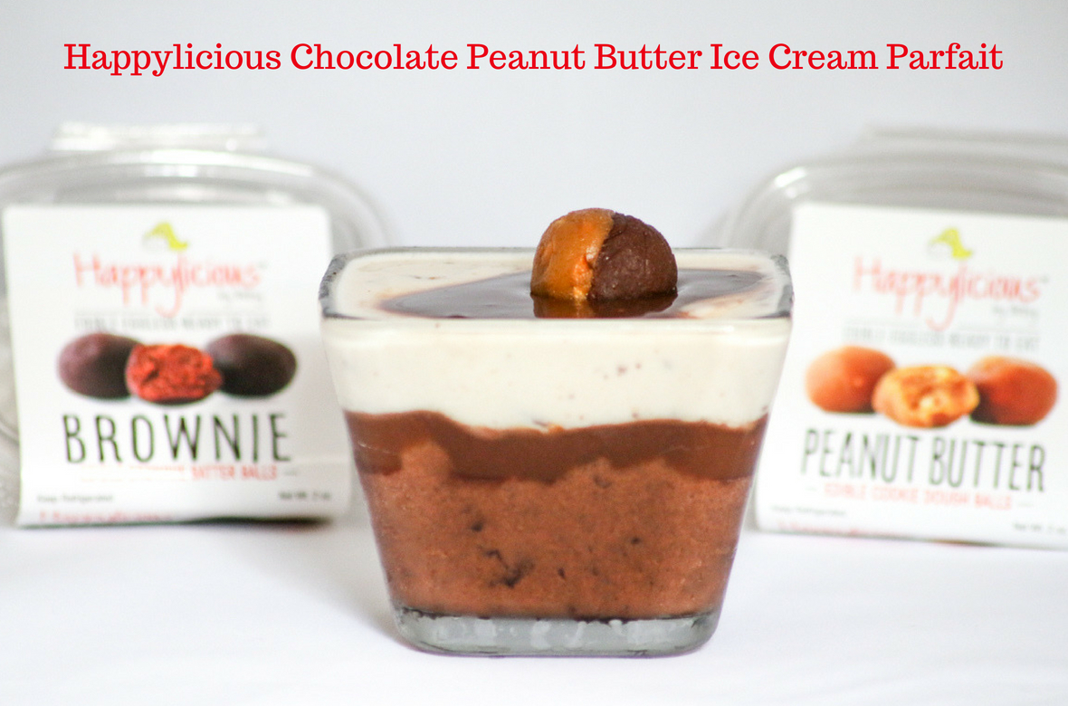 Happylicious Chocolate Peanut Butter Ice Cream Parfait is a cool way to indulge on a hot summer night. Easy to put together, too!