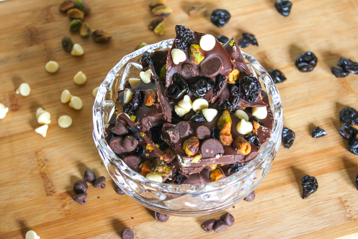 Chocolate Pistachio Cherry Bark is a breeze to put together and the combined flavor is magical. Make a small batch or enough to feed a crowd.