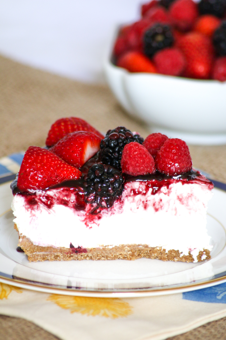 No Bake Berry Cheesecake is super easy to put together. The flavors create a dessert that family and friends will love and let's you enjoy time in the sun!