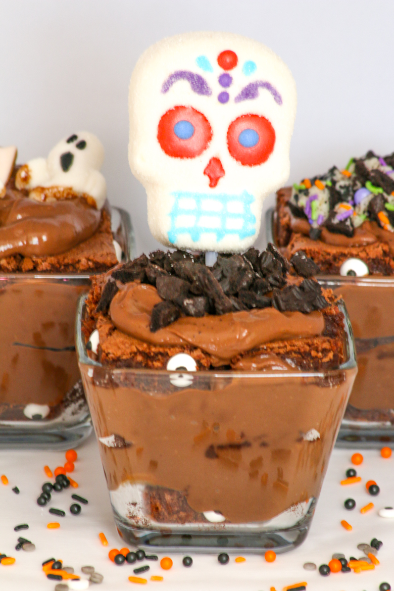 Halloween Brownie Pudding Parfaits combine two favorite treats; chocolate brownies and chocolate pudding. Top with spooky toppings and enjoy!