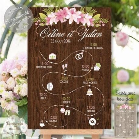 tableau programme mariage champetre personnalise